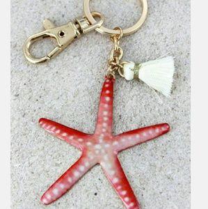 New Starfish Coastal Keychain w Tassel!